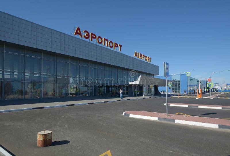 VOLGOGRAD, RUSSIA - 28 MAGGIO 2018: Aeroporto internazionale di Gumrak fotografia stock libera da diritti