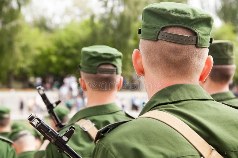 Military parade in day of the oath, ranks of soldiers. VOLGOGRAD, RUSSIA - May 28, 2017: Military soldiers of the Russian army take the oath on Mamayev Kurgan stock photography