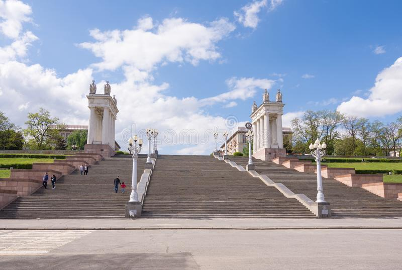 Volgograd. Russia - May 11 2017 Staircase central quay of Volgograd behalf of the 62nd Army.  royalty free stock photography