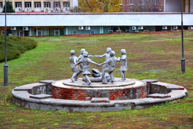 Volgograd, Russia - November 01. 2016. children's round dance sculptural composition Survivor during Great Patriotic War stock image