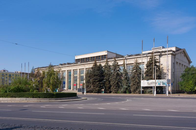 Volgograd. Russia-September 7, 2019. The building of the House of Officers on Lenin Square in the central district of the city royalty free stock photo
