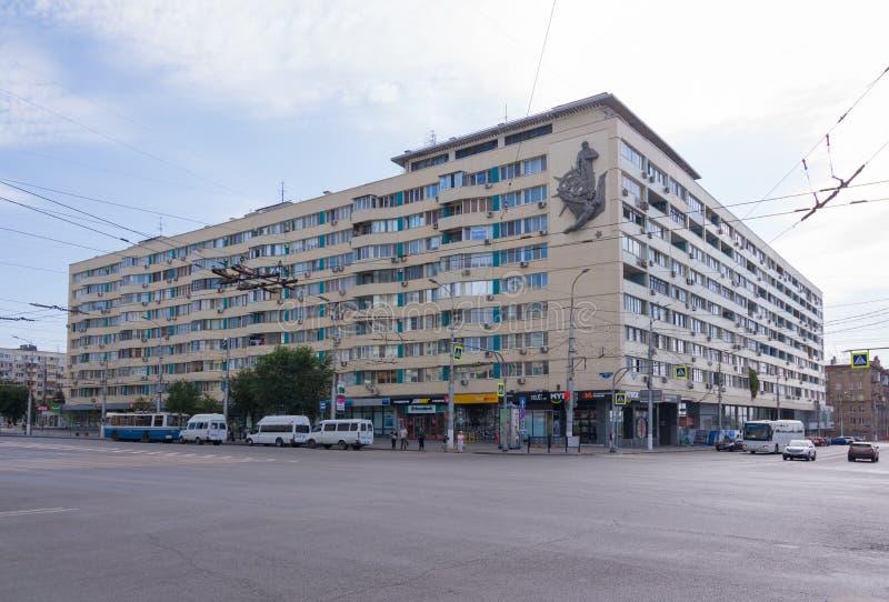 Volgograd. Russia-September 7, 2019.Corner of Krasnoznamenskaya street and Lenin Avenue royalty free stock photo