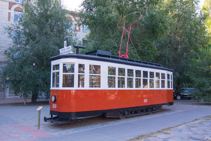 Volgograd. Russia-September 12, 2019. A recreated X-series tram car installed as a monument in Volgograd in a children`s city par stock image