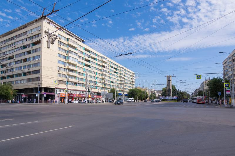 Volgograd. Russia-September 7, 2019. View from the Astrakhan bridge to Lenin Avenue royalty free stock photo
