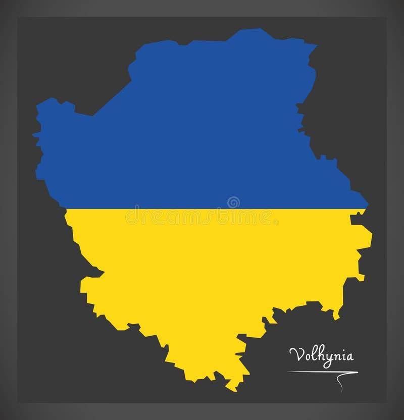 Volhynia map of Ukraine with Ukrainian national flag illustration. Volhynia map of Ukraine with Ukrainian national flag vector illustration