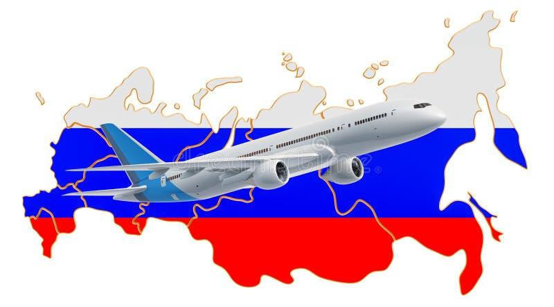 Voli in Russia, concetto di viaggio rappresentazione 3d illustrazione di stock