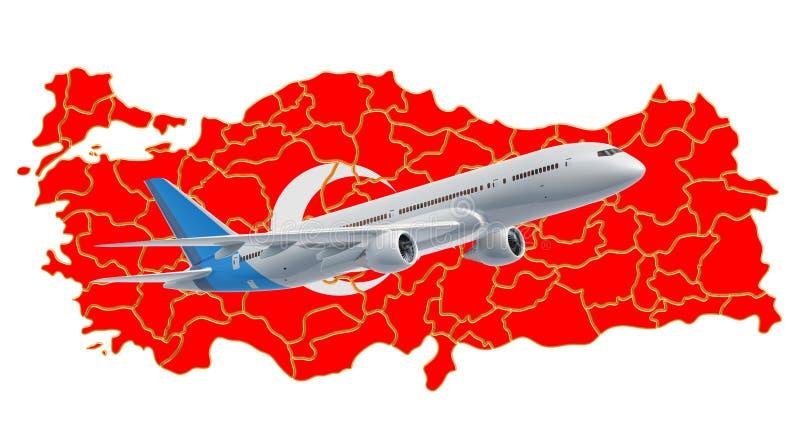 Voli in Turchia, concetto di viaggio rappresentazione 3d illustrazione di stock
