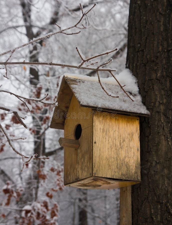 Voljär som är tom i en kall vinterskog arkivbild