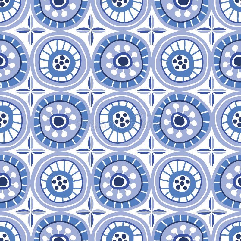 Volk-Blue Circle-Mosaik auf weißer Hintergrund-Vektor-nahtlosem Muster Von Hand gezeichneter geometrischer Druck Delfts lizenzfreie abbildung