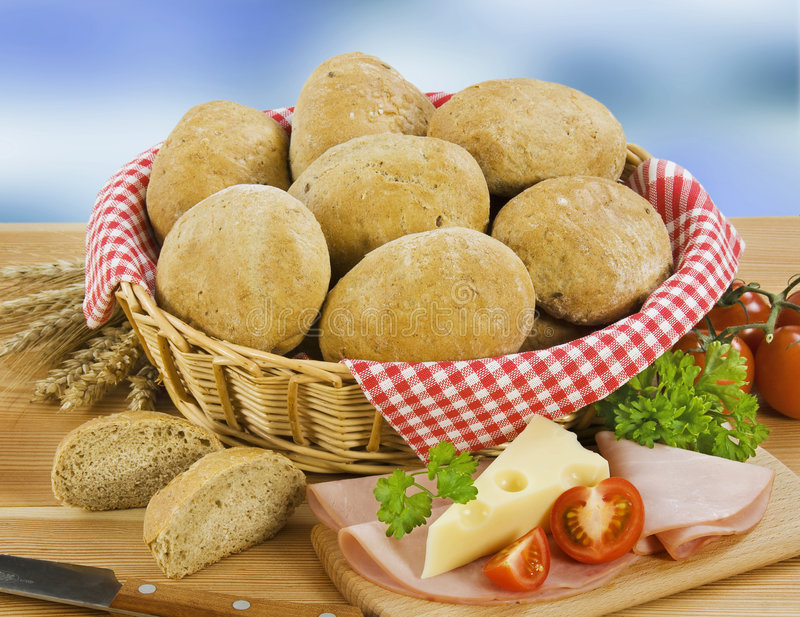 Volkorenbroodbroodjes royalty-vrije stock foto's