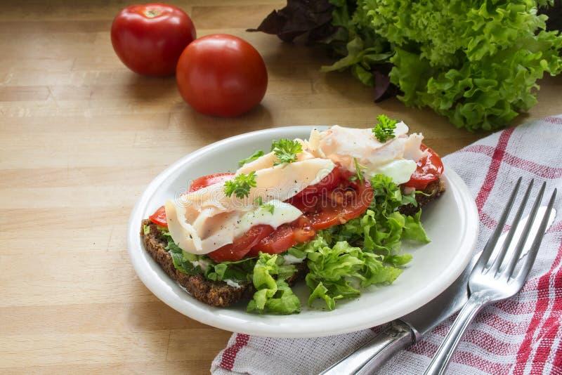 Volkorenroggebrood met tomaten, groene salade en kippenbreas stock foto