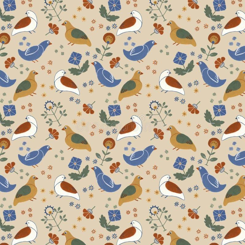 Volks bloemen naadloos patroon met vogels en bloemen, gouacheverf royalty-vrije stock foto