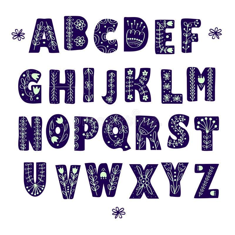 Volks Skandinavisch alfabet royalty-vrije illustratie