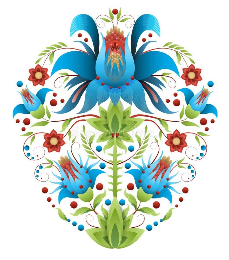 Volksborduurwerk met bloemen - traditioneel etnisch patroon vector illustratie