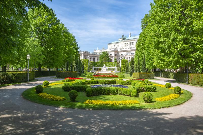 Volksgarten park and Burg theatre, Vienna, Austria stock photography