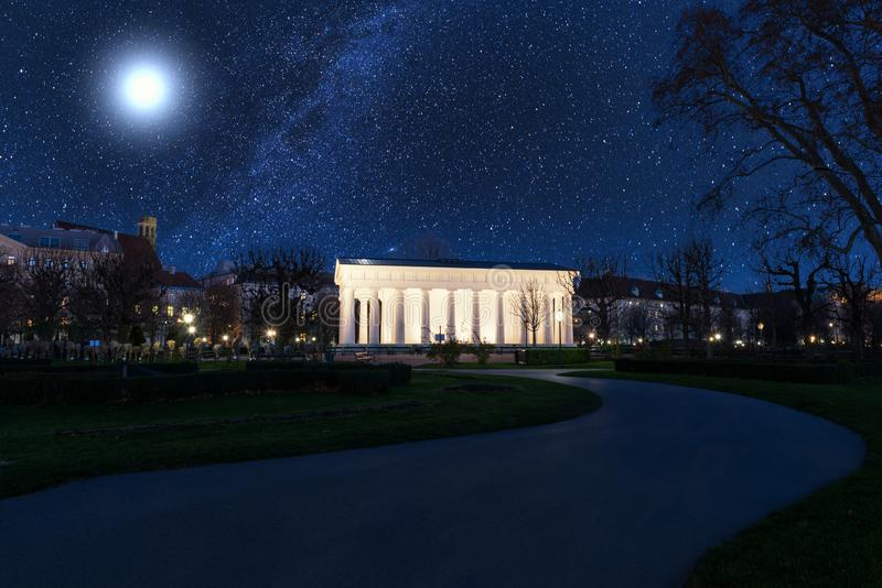 Volksgarten People`s Garden at night, public park in Vienna, Austria royalty free stock photo