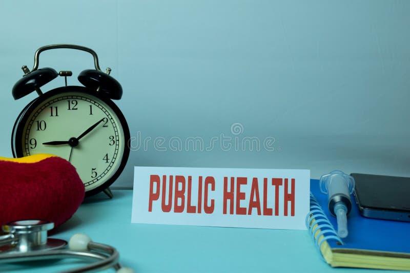 Volksgezondheid Planning op Achtergrond van Werkende Lijst met Bureaulevering royalty-vrije stock foto's