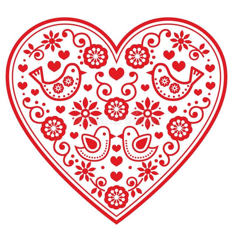 Volksherzmuster mit Blumen und Vögeln - Valentinsgruß ` s Tag, Hochzeit, Geburtstagsgrußkarte vektor abbildung