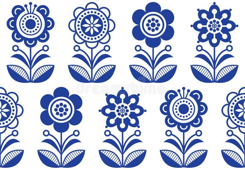 Volkskunst blüht, Blumenmuster des nahtlosen Vektors, skandinavisches sich wiederholendes Design des Marineblaus, nordische Verzi stock abbildung
