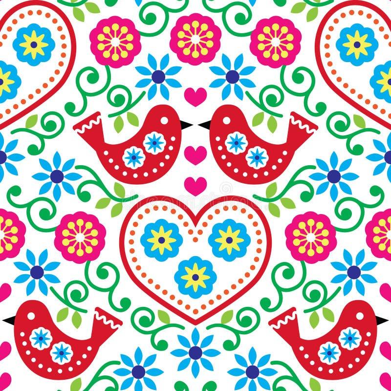 Volkskunst naadloos patroon met bloemen en vogels royalty-vrije illustratie