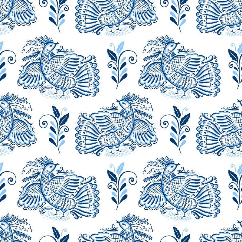 Volksmotiv gzhel Verzierung Traditionelle russische dekorative Malerei Wei?e und blaue Farbe stock abbildung