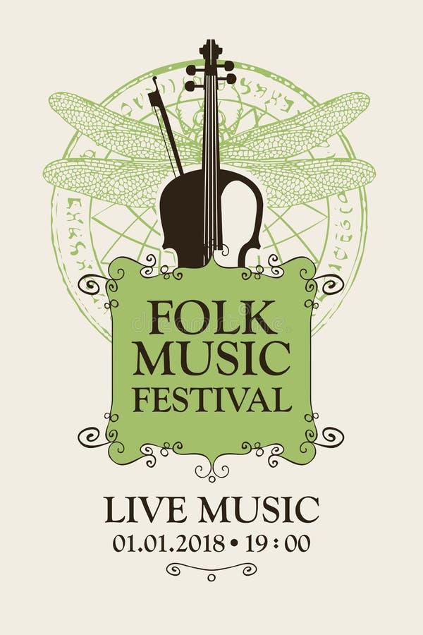 Volksmusikfestivalplakat mit Violine und Bogen vektor abbildung