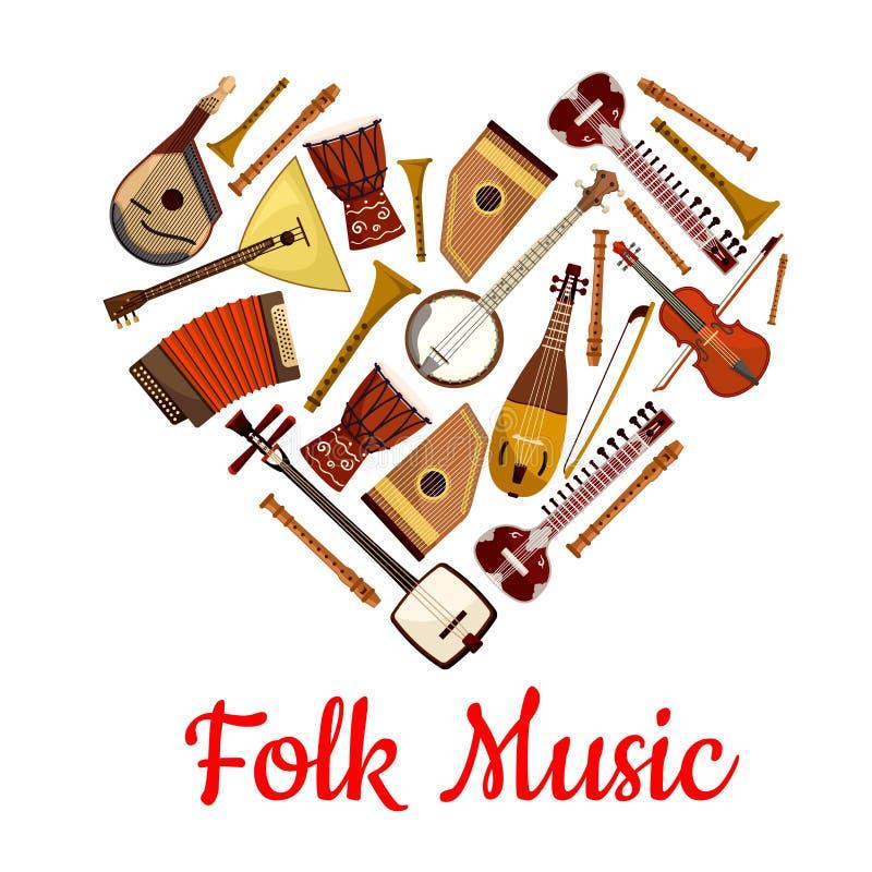 Volksmusikherzemblem von Musikinstrumenten stock abbildung