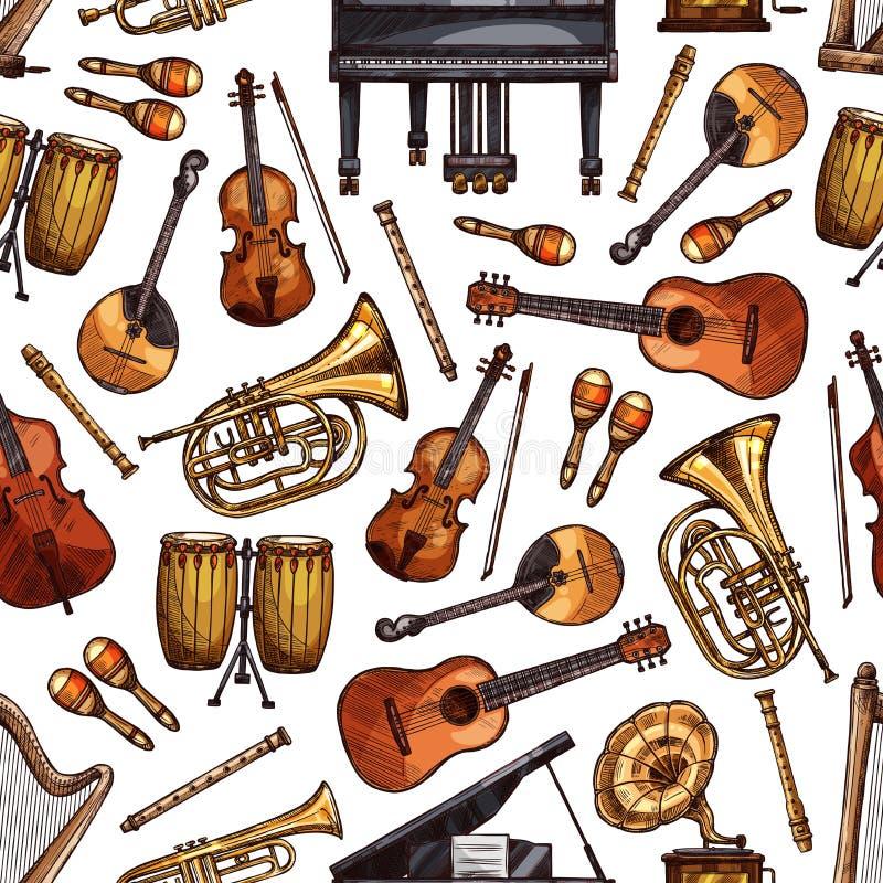 Volksmusikinstrumente skizzieren nahtloses Muster stock abbildung