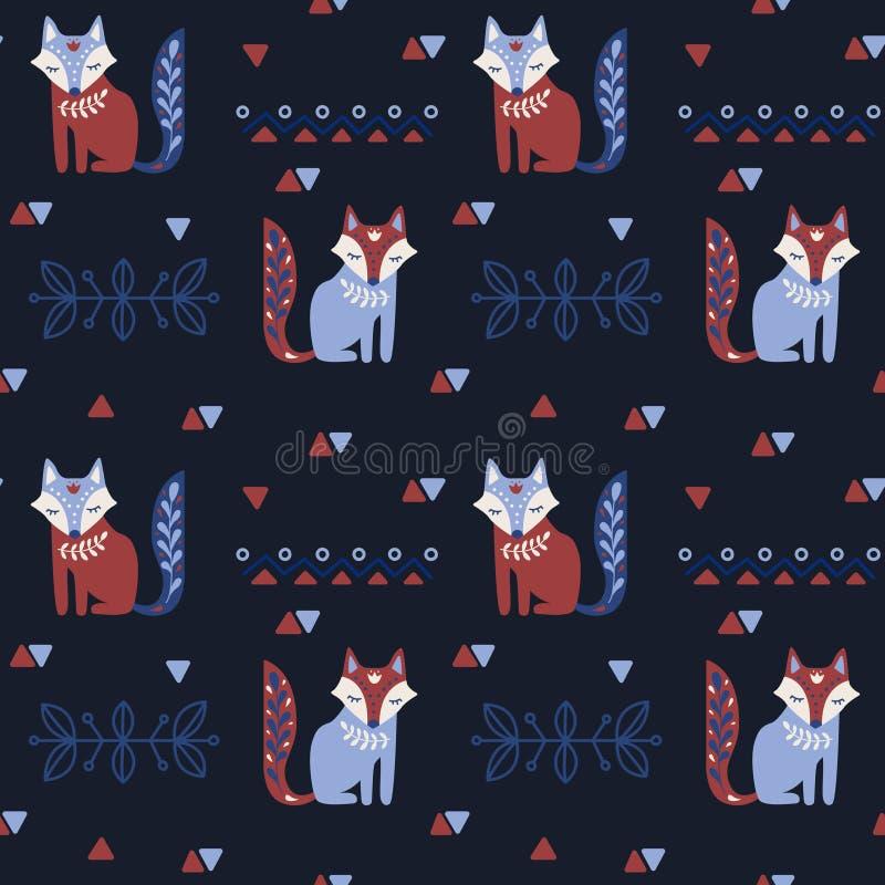 Volksmuster des skandinavischen nahtlosen Vektors mit Fuchs und dekorativen Elementen lizenzfreie abbildung