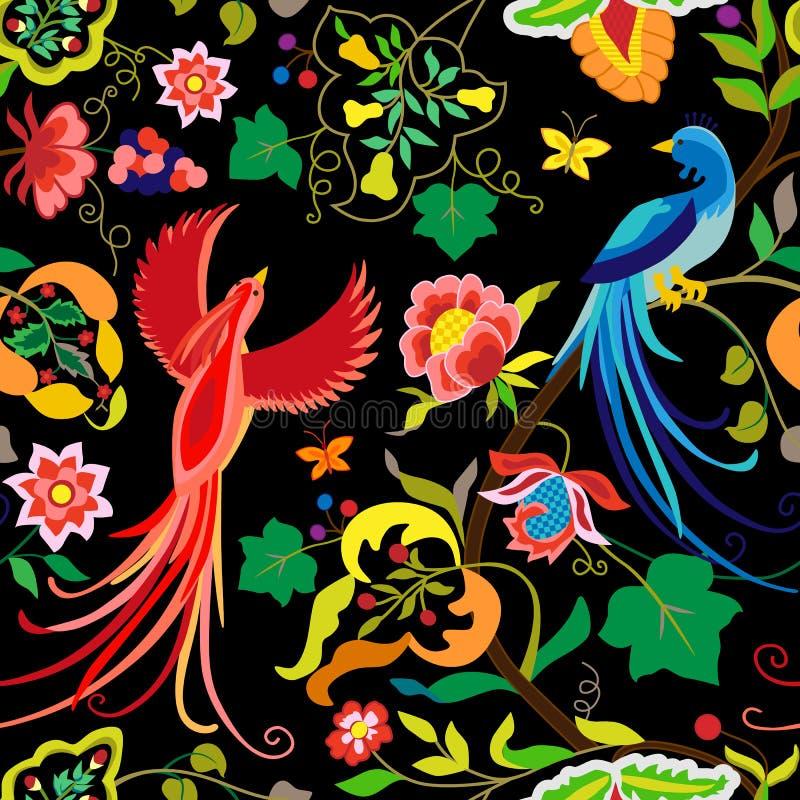 Download Volksmustervogel-, -blumen-, -blatt- Und -traubenniederlassungen In Der Weinleseart, Auf Schwarzem Hintergrund Vektor Abbildung - Illustration von element, garten: 96925030