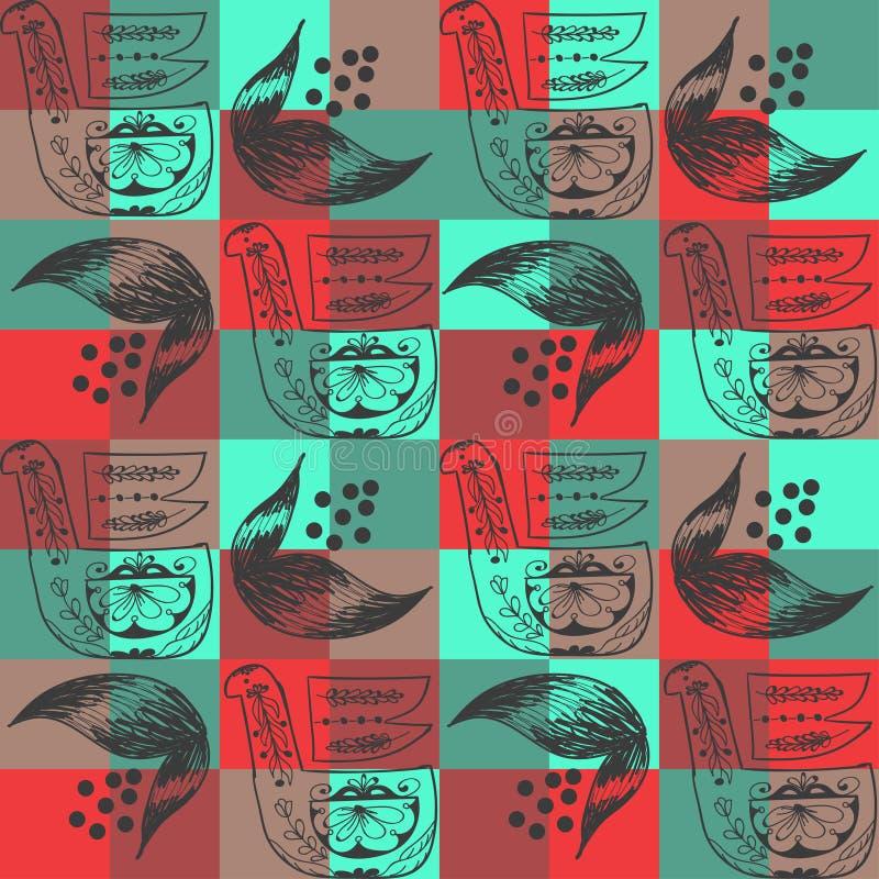 Volksornament op geometrische cijfers van bruine en rode kleuren royalty-vrije illustratie
