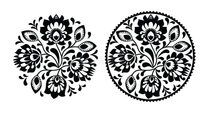 Volksstickerei mit Blumen - traditionelles polnisches rundes Muster im Monochrom vektor abbildung