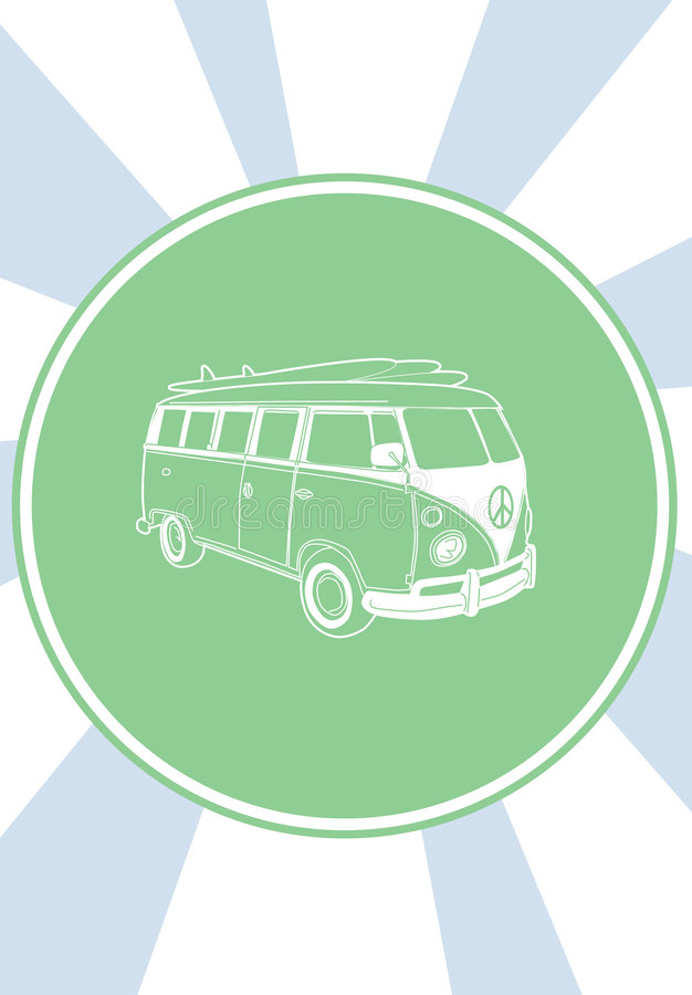 Volkswagen 70's car.The summe royalty free illustration