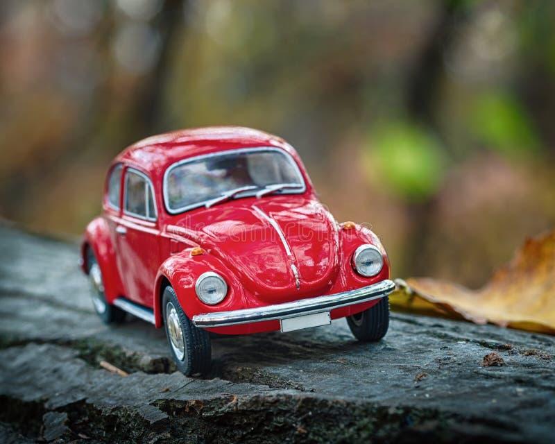 Volkswagen Beetle-Modellbaumakro stockfotos