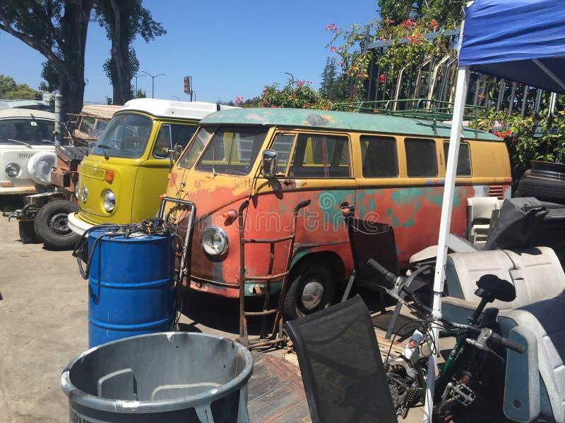 Volkswagen Bus Junk Yard Vintage royalty free stock images