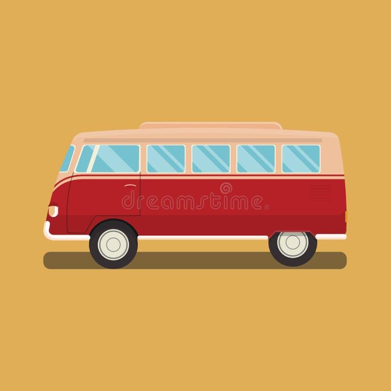 Volkswagen-Bus klassischer Brandungscamper mit Stripingvektor vektor abbildung