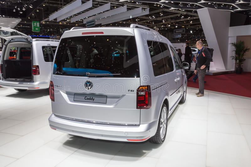 2015 Volkswagen Caddy. Geneva, Switzerland - March 4, 2015: 2015 Volkswagen Caddy presented on the 85th International Geneva Motor Show stock photo