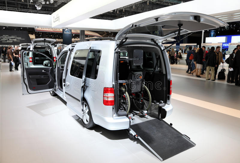 Volkswagen Caddy Van. HANNOVER - SEP 20: Volkswagen Caddy Van special edition for wheel chair at the International Motor Show for Commercial Vehicles on royalty free stock image