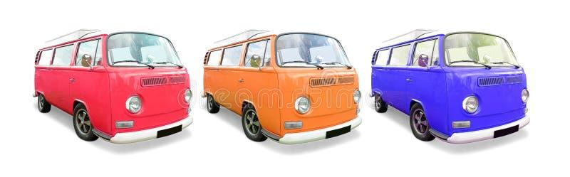 Volkswagen Camper vans. A trio of colorful vintage Volkswagen camper vans royalty free stock image