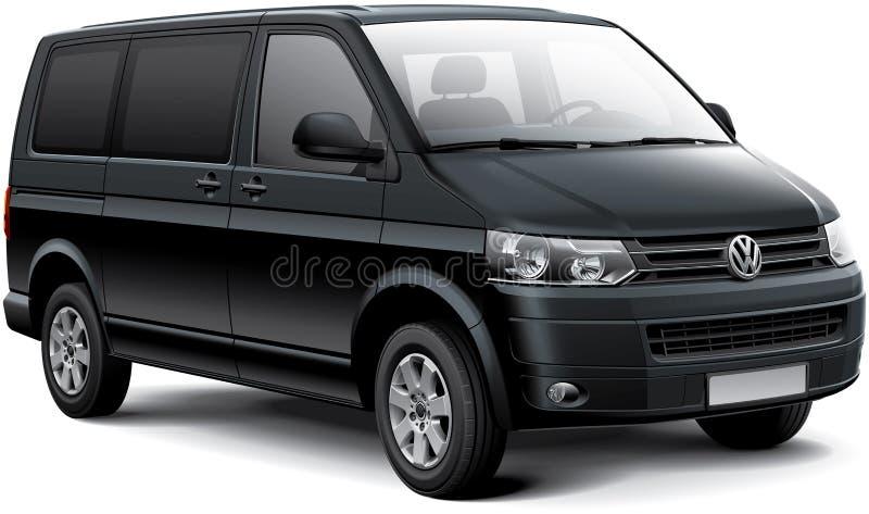 Volkswagen Caravelle. High quality vector image of black German passenger van - Volkswagen Caravelle, also called Volkswagen Multivan and Volkswagen Transporter