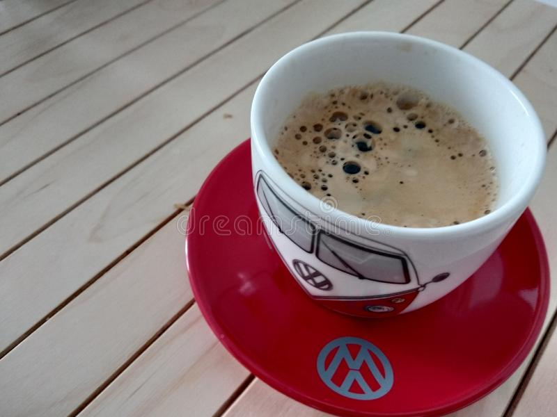Volkswagen coffee on the wooden table stock photo