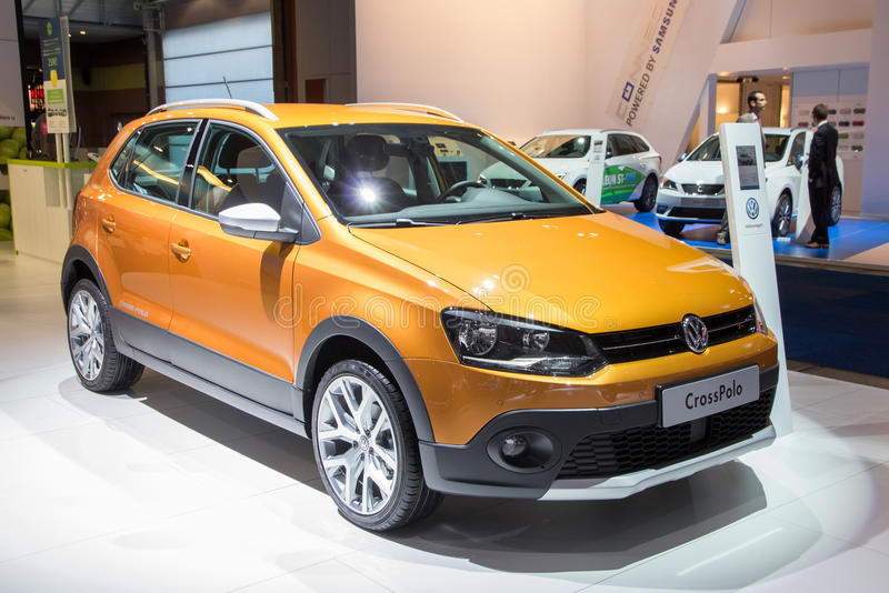 Volkswagen CrossPolo. BRUSSELS - JAN 12, 2016: Volkswagen CrossPolo on display at the Brussels Motor Show royalty free stock photos