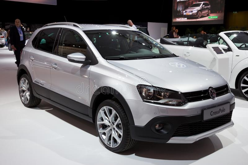 Volkswagen CrossPolo car. AMSTERDAM - APR 16, 2015: Volkswagen CrossPolo car at the Amsterdam AutoRAI 2015 Motor Show royalty free stock images