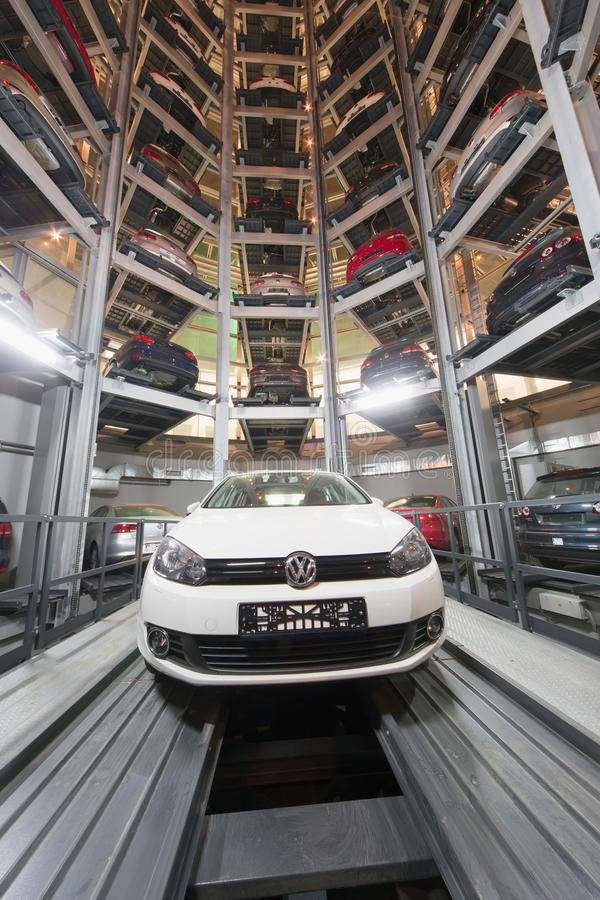 The Volkswagen Golf in center of premise for storage cars. MOSCOW - JAN 11: The Volkswagen Golf in center of premise for storage cars in Volkswagen Center royalty free stock image