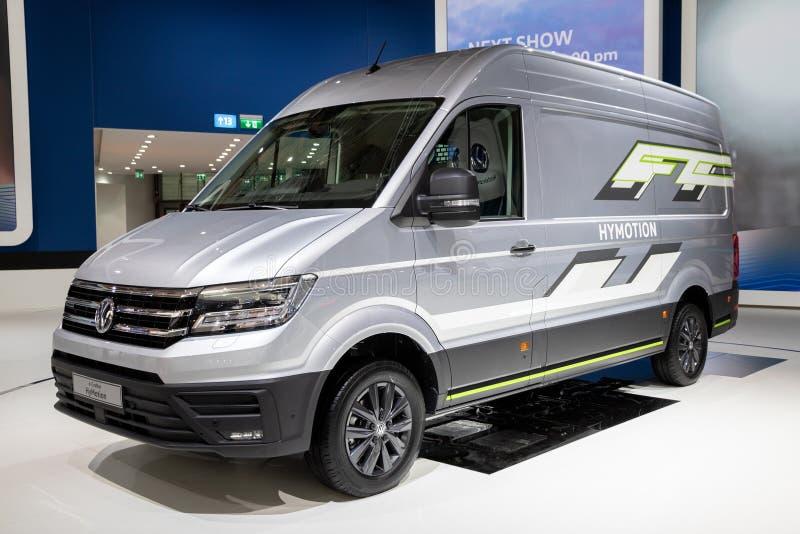 Volkswagen hidrógeno-accionó la furgoneta del concepto de HyMotion del Crafter fotografía de archivo