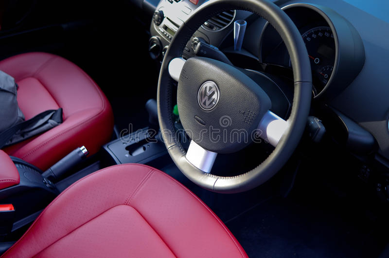 Volkswagen new beetle interior stock image