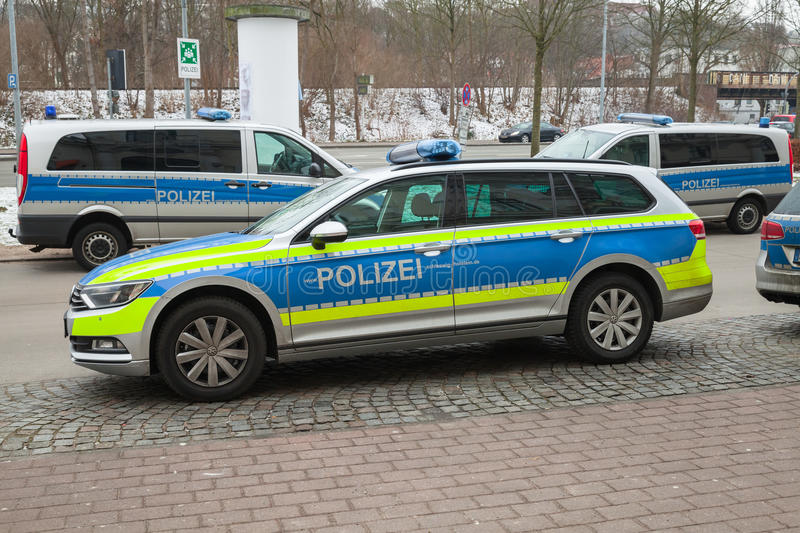 Volkswagen Passat, German police car. Flensburg, Germany - February 10, 2017: Volkswagen Passat, modern German police car parked on the roadside, closeup photo royalty free stock photos