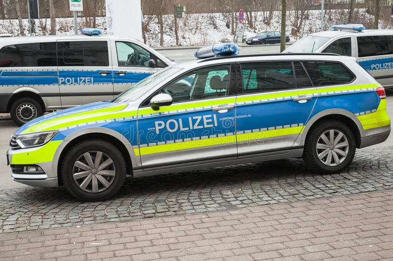 Volkswagen Passat, modern German police car. Flensburg, Germany - February 10, 2017: Volkswagen Passat, modern German police car parked on the roadside stock photography