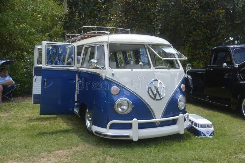 Volkswagen retro vintage car / Split Bus, ancient van with sample. Jacksonville zoo exhibition. Photo taken on August 24th, 2014 stock photos