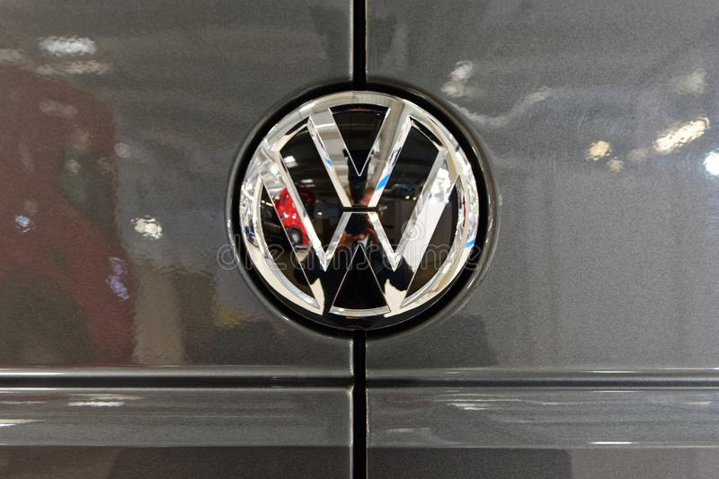 Volkswagen stylish logo and shiny badge stock images